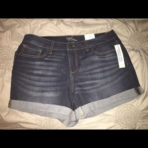 Dark Wash Denim Cuffed Shorts